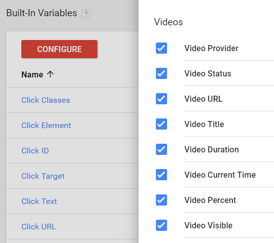 Image 3.1: Video Variables in GTM