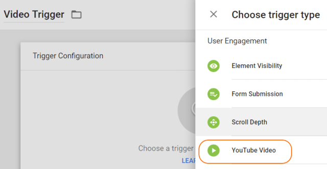 Image 3.2: Selecting YouTube Video Trigger