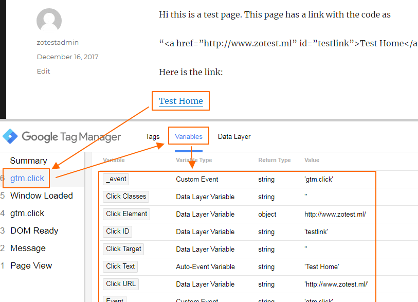 Image 1.5: Click Event Firing in GTM Preview Pane