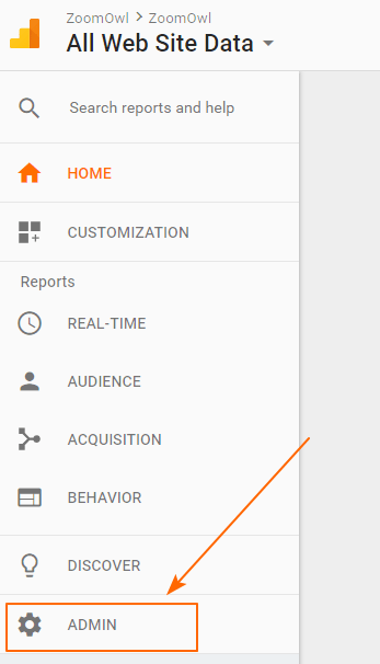 Image 1A.6. Opening the Google Analytics Admin Page