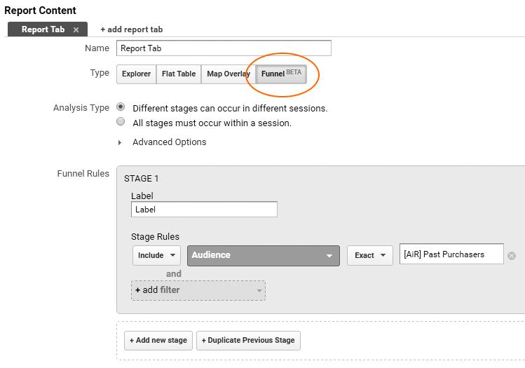 Image 1b.5. Custom Funnel in Google Analytics 360