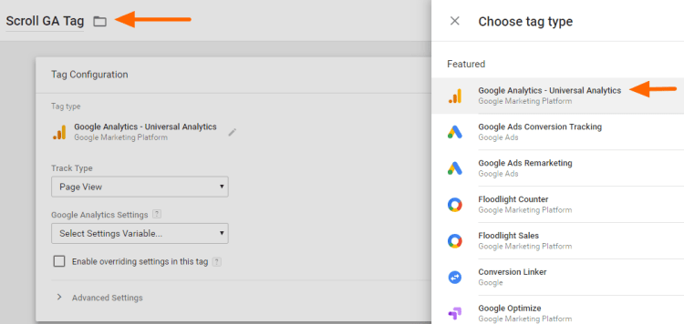 Image 1d.8. Creating Google Analytics Tag for Scroll Tracking