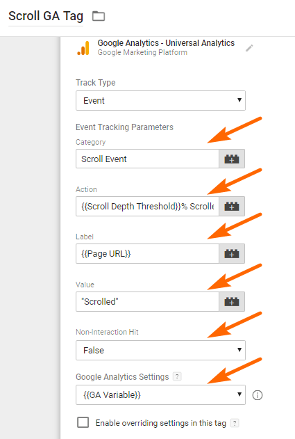 Image 1d.9. Google Analytics Scroll Tag Configuration