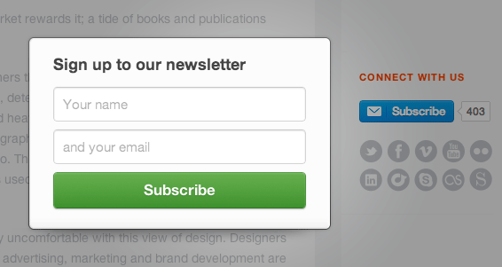 Image 1e.5. Online Email Subscription Form