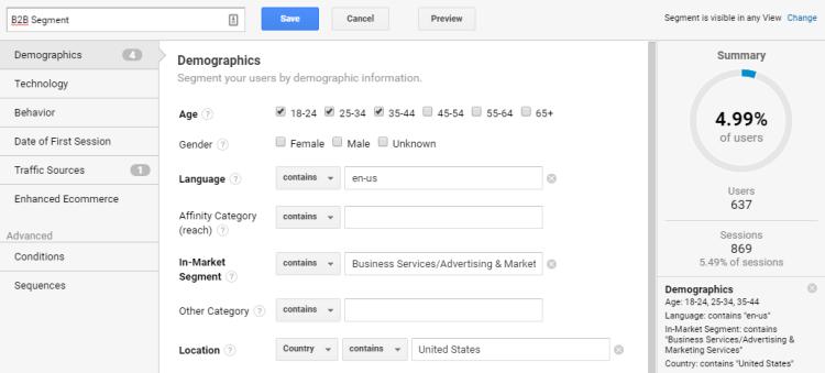 Image 1g.8. Google Analytics B2B Segment