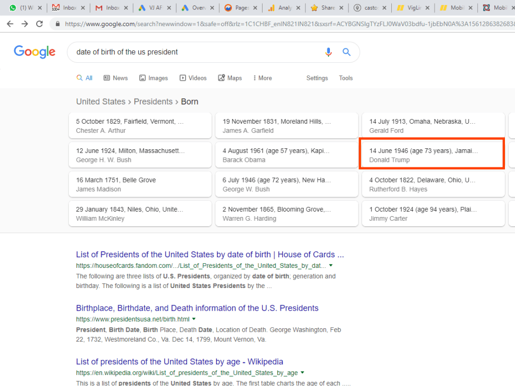 1i.b. Google Search Result for Date of Birth of the US President