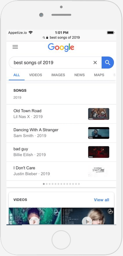 1i.c. Best Songs of 2019 Search Result on iPhone