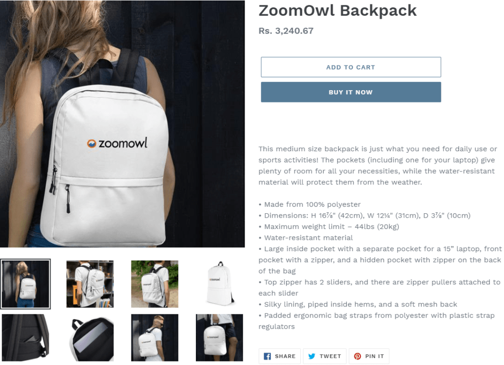 Image 1j.a. ZoomOwl backpack product page