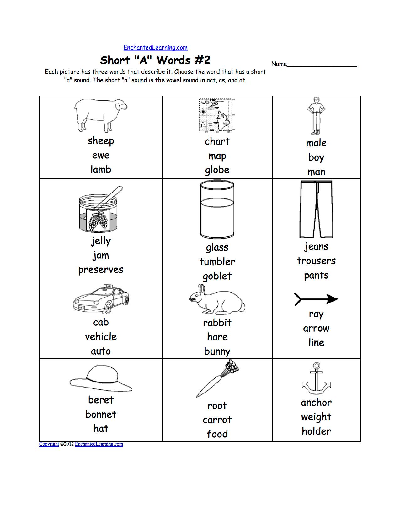 Short A Alphabet Activities At Enchantedlearning