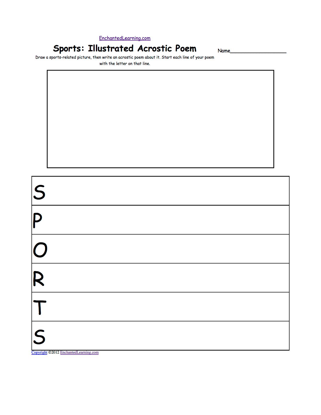 Drawing Worksheets Sports At Enchantedlearning