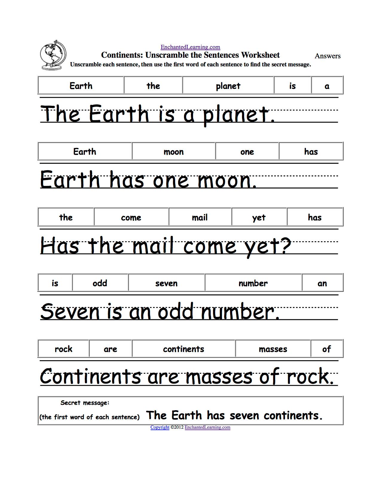 Mockinbirdhillcottage Sentence Structure Worksheets 1st Grade
