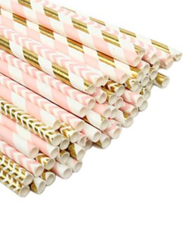 Pink and Gold Paper straws 100pcs