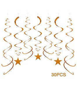 Orange Party Star Swirl Decorations, Foil Ceiling Hanging Star Swirl Decorations, Pack of 30