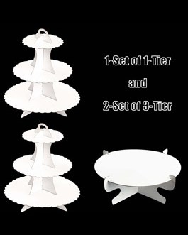 White Cardboard Cupcake Stand Dessert Tower 3 Tier(2PC) + 1Tier(2PC)-3Pack