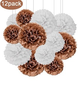 12pcs Rose Gold and White Hanging Tissue Paper Pom Poms Decorations for Party Ceiling Wall Tissue Flowers Decorations – 2 Colors of 12 Inch, 10 Inch