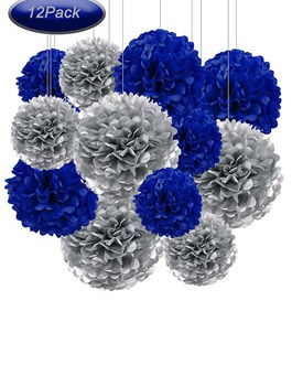 12pcs Navy Blue and Silver Hanging Tissue Paper Pom Poms Decorations for Party Ceiling Wall Tissue Flowers Decorations – 2 Colors of 12 Inch, 10 Inch