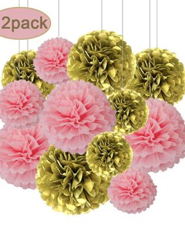 12pcs Pink and Gold Hanging Tissue Paper Pom Poms Decorations for Party Ceiling Wall Tissue Flowers Decorations – 3 Colors of 12 Inch, 10 Inch
