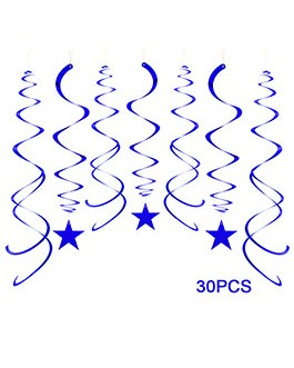Blue Party Star Swirl Decorations, Foil Ceiling Hanging Star Swirl Decorations, Pack of 30