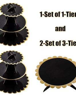 3-Pack Black and Gold Cardboard Cupcake Stand Dessert Tower 3 Tier(2PC) + 1Tier(2PC)
