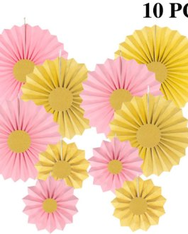 Pink and Gold Paper Fans Hanging Party Decorations,Pack of 10