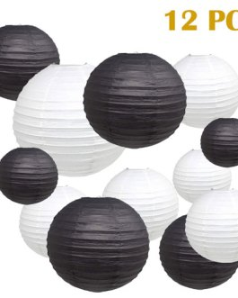 """Black and White Paper Lanterns Hanging Lanterns for Party Decorations,8"""", 10"""", 12"""",Pack of 12"""