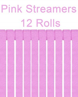 Pink Crepe Paper Streamers Party Streamer Decorations – Party Decoration Supplies  (12 Rolls, Pink)