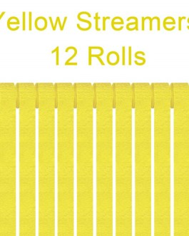 Yellow Crepe Paper Streamers Party Streamer Decorations – Party Decoration Supplies  (12 Rolls, Yellow)