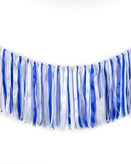 Fabric ribbon garlands with Tassel Garland already assembled ribbon hanging decoration, Party decoration Supplies, Blue Light Blue White Silver