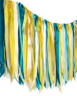 Fabric ribbon garlands with Tassel Garland already assembled ribbon hanging decoration, Party decoration Supplies, Dark Green,Light Green,Champagne Gold,Gold