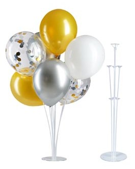 Table Balloon Stand Kit-Tinabless 4 Sets 28″ Height,Balloons Column Stand Reusable Clear Balloon Holder(7 Balloon Sticks,7 Balloon Cups,1 Balloon Base) for Any Occasions Party Decorations