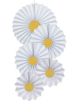 White Paper Fans Hanging Party Decorations,Pack of 10