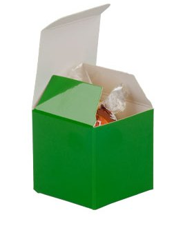 Green Candy Boxes 2 x 2 x 2 Inch Small Mini Square Paper Boxes