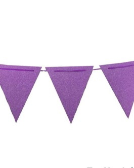 20 Feet Purple Glitter Pennant Banner 30pcs Flags, Pack of 1(One 20 Feet or Two 10 Feet)