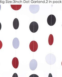 "Circle Dots Hanging Paper Garland Decor, 3"" in Diameter,10-feet,2pc in Pack (Black/red/White)"