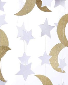 Glitter Paper Garland Moon and Stars Ornaments 0ft-2pcs-Gold/White