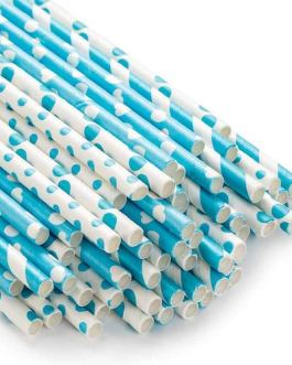 Paper Straw 100pc for Birthday Parties (Blue)
