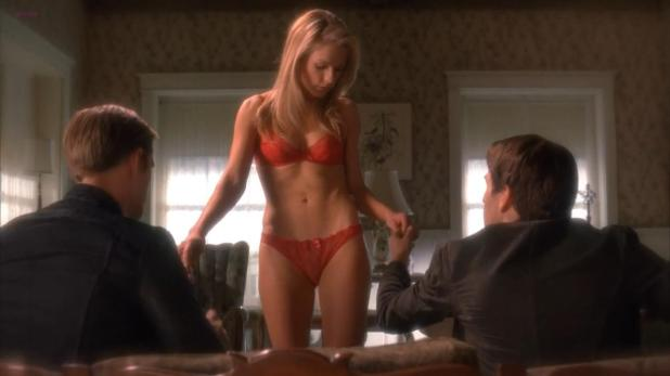 Anna Paquin sexy wile striping to red lingerie -True Blood (2011) s4e9 hd720p