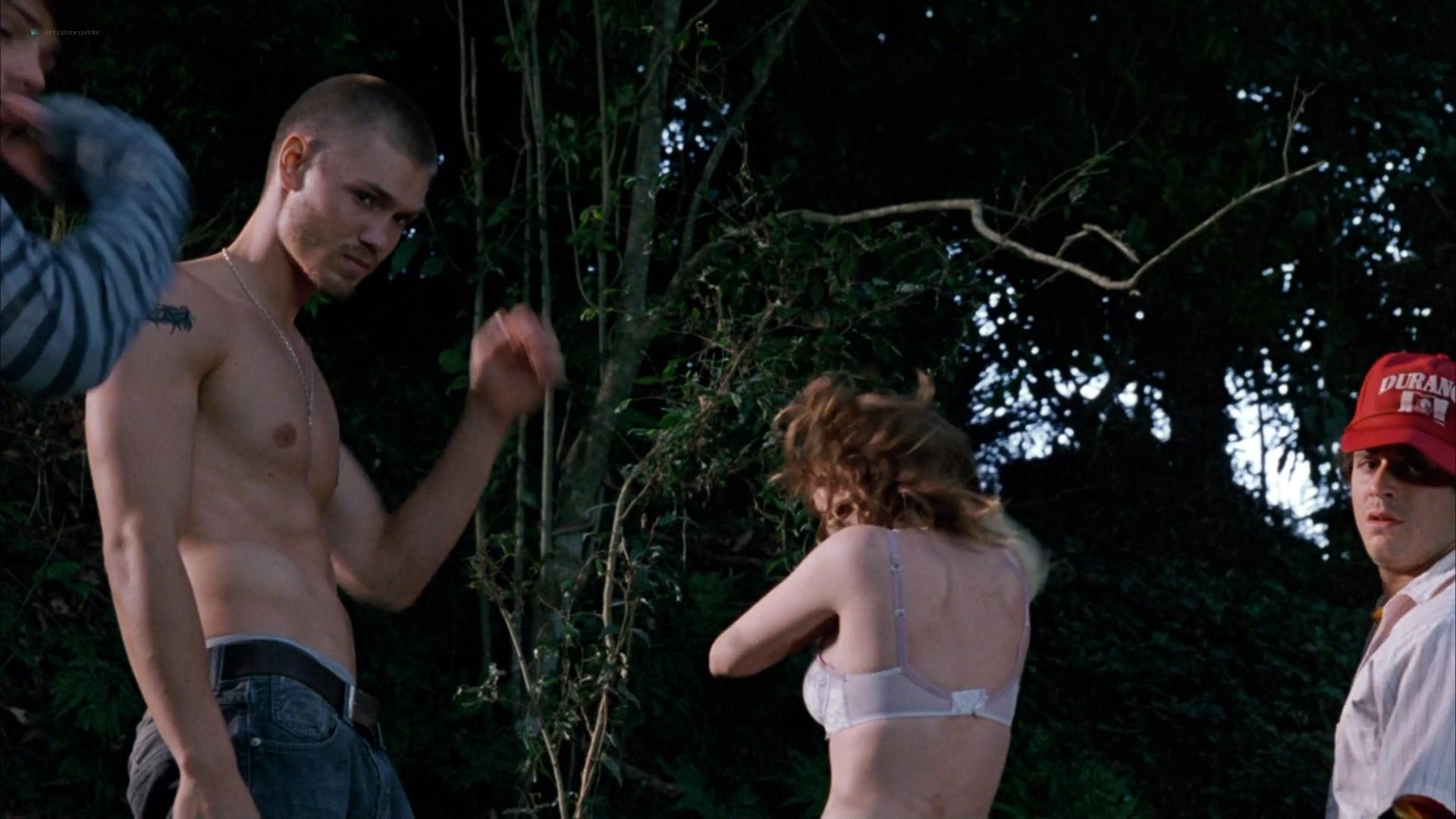 Elisha Cuthbert hot cleavage Paris Hilton striping to bra and panties - House of Wax (2005) HD 1080p (14)