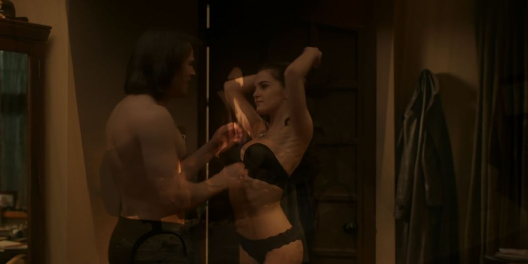 Zoey Deutch hot and sexy in black lingerie and some mild sex in - Vampire Academy (2014) HD 1080p BluRay (7)