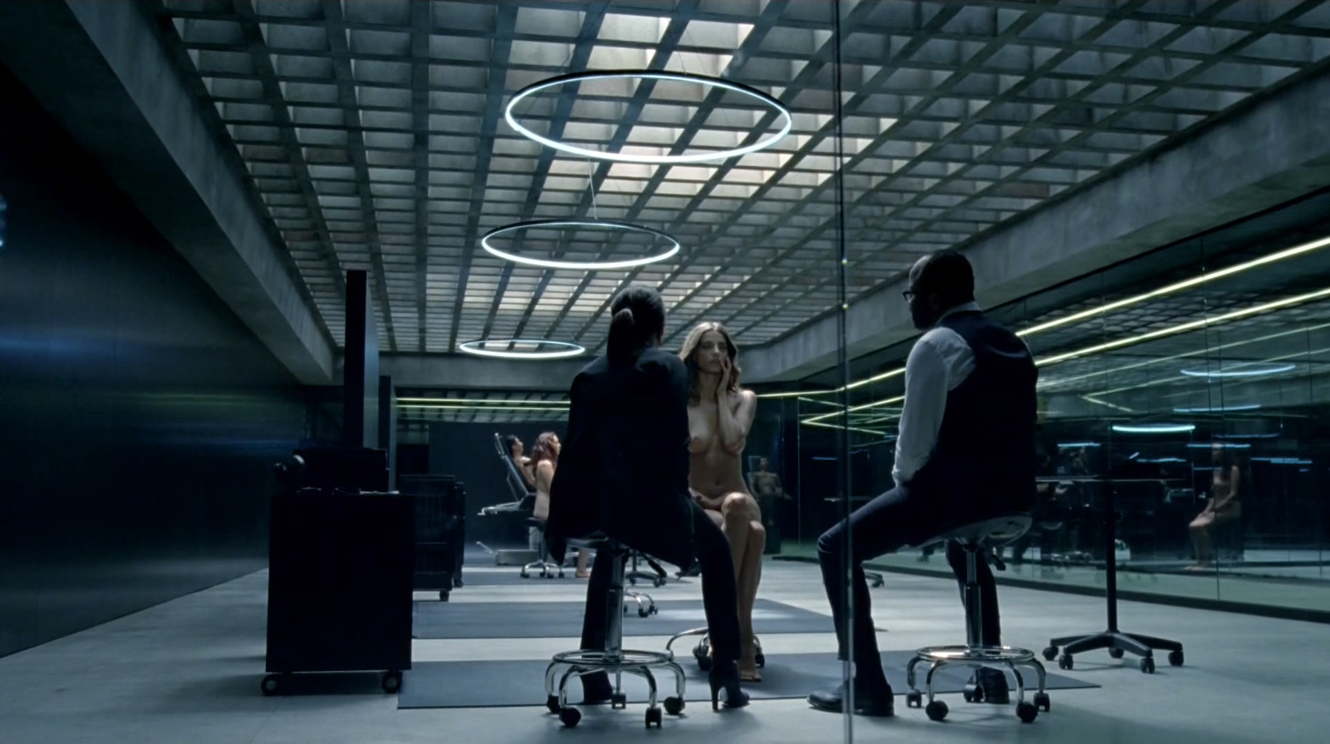 Evan Rachel Wood nude topless and butt Angela Sarafyan nude topless - Westworld (2016) s1e1 HD 1080p (10)