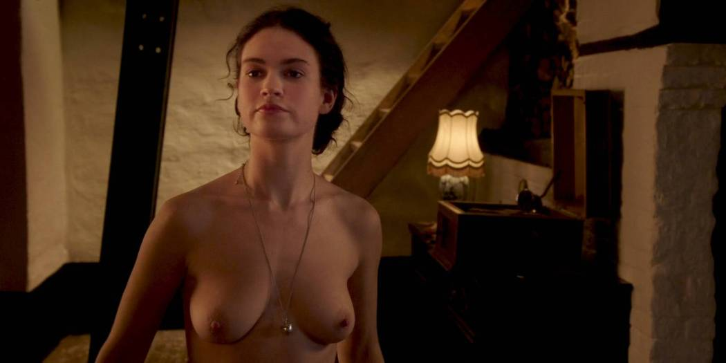Lily James nude butt, topless and sex - The Exception (2016) HD 1080p WEB (8)