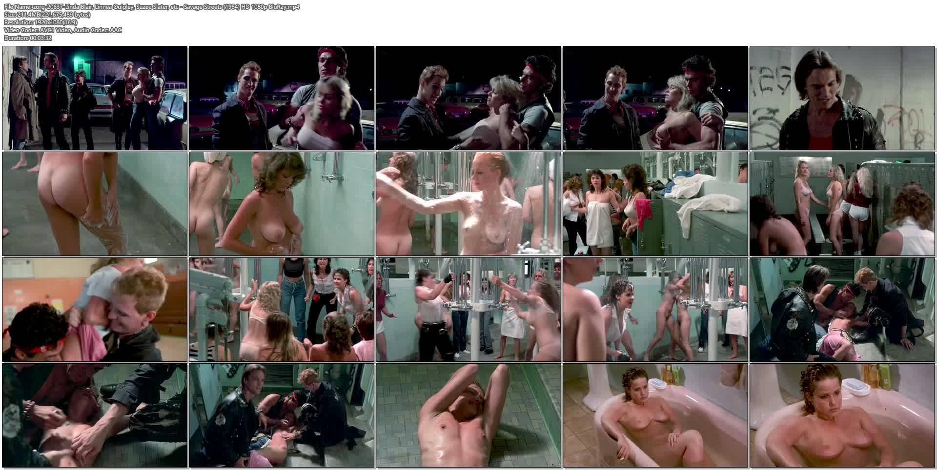 Linda Blair nude Linnea Quigley nude bush Suzee Slater and Rebecca Perle nude too - Savage Streets (1984) HD 1080p BluRay (1)