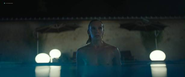 Toni Collette nude bush and boobs while skinny dipping - Madame (2017) HD 1080p WEB (3)