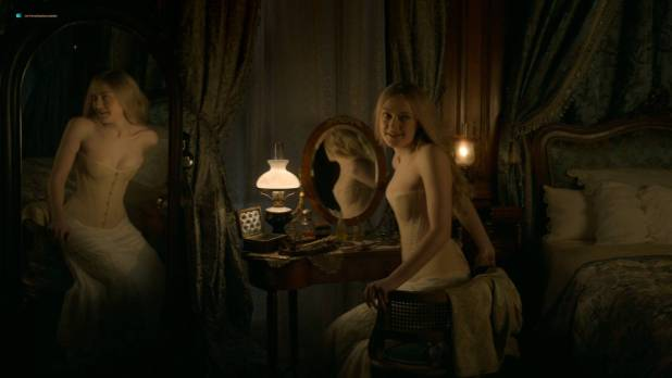 Dakota Fanning hot cleavage and Daisy Bevan sex - The Alienist (2018) s1e2 HD 1080p (8)