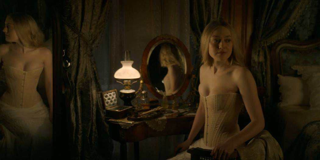 Dakota Fanning hot cleavage and Daisy Bevan sex - The Alienist (2018) s1e2 HD 1080p (5)
