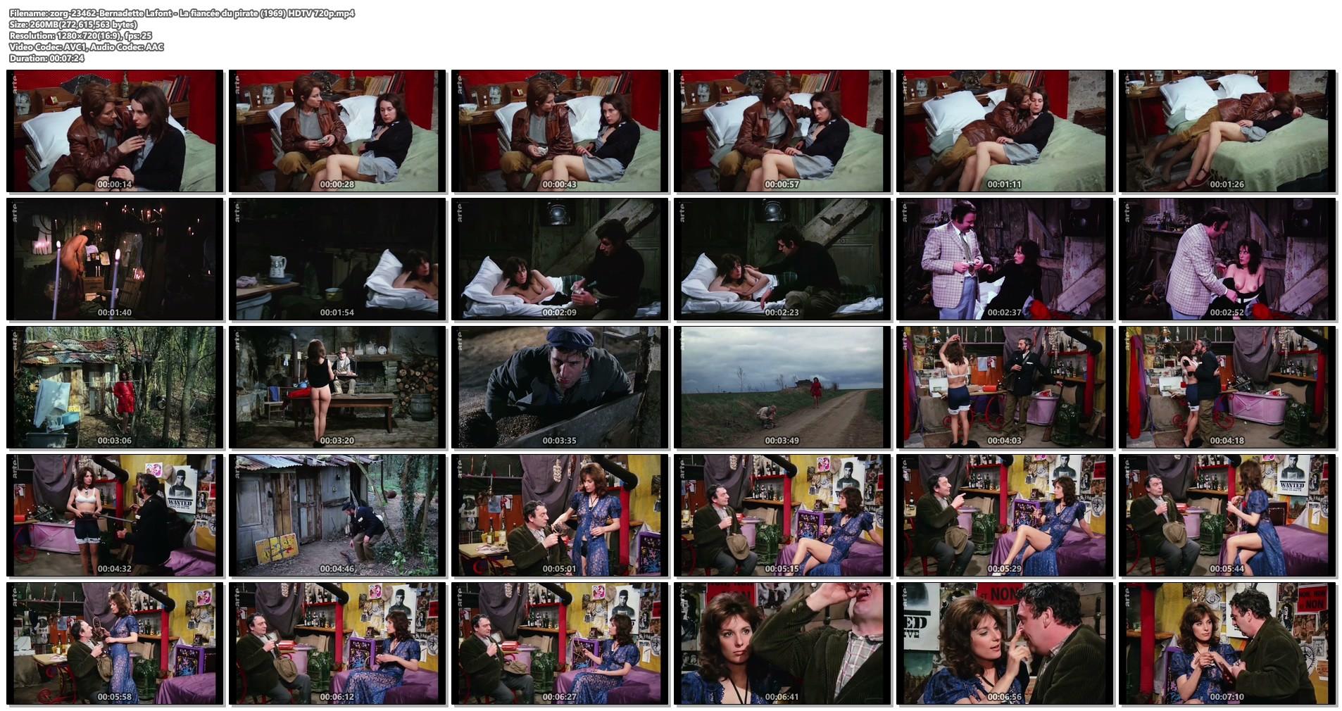 Bernadette Lafont nude bush and butt - La fiancée du pirate (1969) HDTV 720p (1)