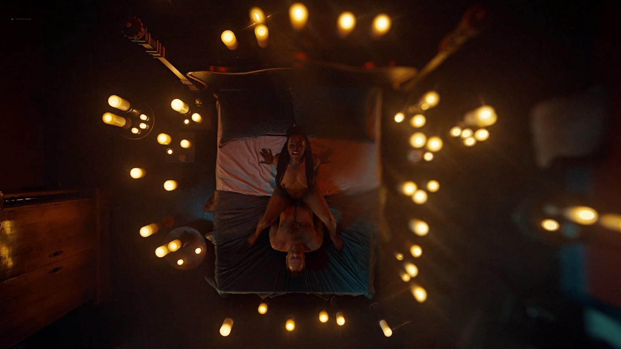 Yetide Badaki nude bush and topless American Gods 2020 s3e2 HD 1080p 07