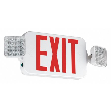 exit sign with emergency lights 19 1 4 in w 8 1 8 in h