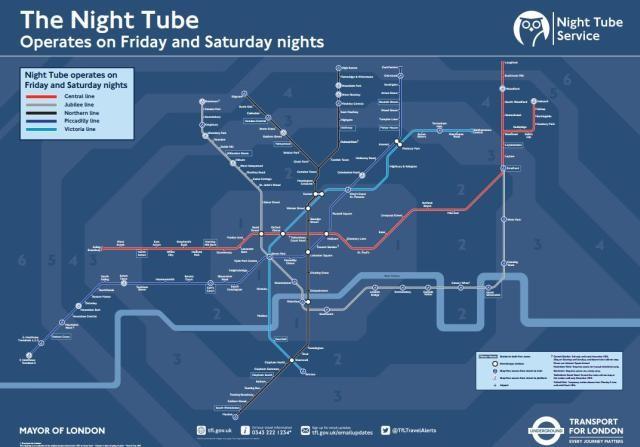 Night Tube, o mapa das estações do metrô de Londres que vão operar 2 horas por dia