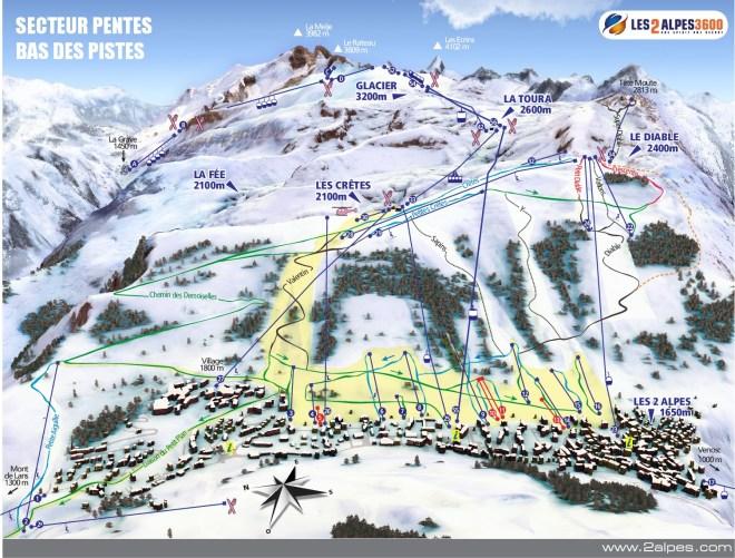 Mapa da estação Les Deux Alpes, na França